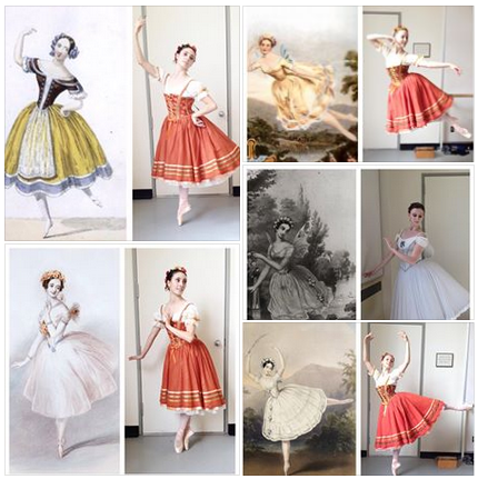 Love, love, love this photo mashup with PNB dancers Jahna Frantziskonis, Elizabeth Murphy & Elle Macy modeling their new Giselle costumes alongside historical Giselle illustrations of the same costume and pose. We opens Friday! Jahna Frantziskonis top and bottom left corners, Elizabeth Murphy top and bottom right corners, Elle Macy middle right.