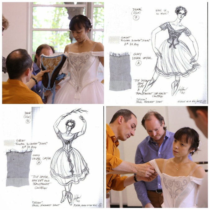 Giselle's costume is modeled specifically on the one worn by Carlotta Grisi on that 1841 opening night. It's two costumes, but one design: The Act II version is the same dress, rendered in all-white. (via Seattle Times article)