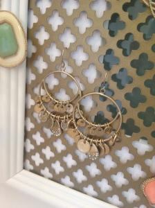 c+i gold paillette chandelier earrings on DIY display